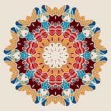 Mandala Print stylisée Symétrique rond oriental Image stock