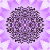 Mandala Print on Violet Seamless Texture background. Vintage decorative element on endless texture. Hand drawn Stock Image