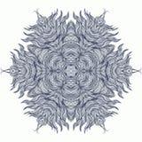 Mandala projekt lub płatek śniegu w zmroku - błękit Fotografia Royalty Free