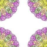 Mandala púrpura abstracta Frontera ornamental floral Imágenes de archivo libres de regalías