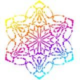 Mandala punteada colorida Elemento decorativo floral de la pendiente Flor redonda ornamental del garabato aislada en el fondo bla stock de ilustración