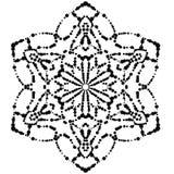 Mandala punteada negro de la flor Elemento decorativo Garabato redondo ornamental aislado en el fondo blanco Fotografía de archivo