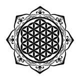 Mandala rama i kwiat życie tatuujemy szablon lub matrycujemy, Święta geometria symbolu alchemia, duchowość, religia, filozofia, a royalty ilustracja