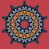 Mandala on Red. Round Ornamental Tribal Pattern Stock Photos