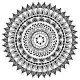 Mandala redonda decorativa étnica para o livro Página adulta da coloração Ilustração do vetor Imagens de Stock Royalty Free