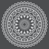 Mandala retro lace vector pattern, round design with flowers and swirls in white on gray background royalty free illustration