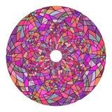 Mandala rond fait de verre souillé Glace cassée Photographie stock libre de droits