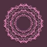 Mandala rosada floral en fondo púrpura Fotografía de archivo libre de regalías