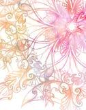 Mandala rose d'ornement et effet de couleur de fractale Image stock