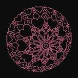Mandala rose tordu avec des coeurs sur le noir Images stock