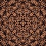 Mandala rotonda astratta nei colori caldi di Brown - fondo quadrato Fotografia Stock