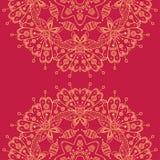 Mandala rotonda ornamentale senza cuciture di vettore astratto sul BAC rosso Fotografie Stock