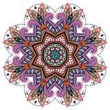 Mandala round ornament, floral geometric circular pattern Stock Images
