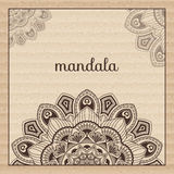 Mandala. Round Ornament Pattern. Beautiful ornament. Mandala. Corrugated fibreboard.  Beautiful ornament can be used as a greeting card. Hand drawn background Stock Image