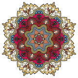 Mandala round ornament, tribal ethnic circular. Pattern. Vector design element for fabric print, Invitations or Cards Royalty Free Stock Images