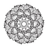 Mandala. Round Ornament Vintage decorative elements. Blak and white. Royalty Free Stock Photo