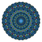 Mandala Round Zentangle Pattern Vector bleue Photo libre de droits