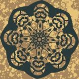 mandala Rundes Verzierungs-Muster Vektor mit Blumen Lizenzfreie Stockfotos