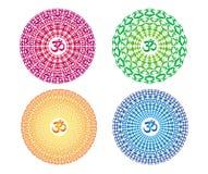 4 colorful mandalas with the sign Aum / Ohm / Om. Vector drawing. 4 colorful mandalas with the sign Aum / Ohm / Om. Spiritual symbol. Openwork circular ornament vector illustration