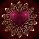 Mandala's heart. Colorful abstract graphic design showing a heart in passionate reds Royalty Free Stock Photo