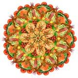 Mandala sacré de forme de pizza de nourriture Photo stock