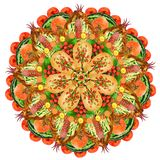 Mandala sacré de forme de pizza de nourriture Photos stock