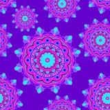 Mandala sans couture de bleu de violiet de modèle Photo libre de droits