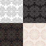 MAndala Seamless monochrome Patterns set Royalty Free Stock Photo