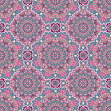 Mandala seamless pattern in blue and pink colors Royalty Free Stock Image