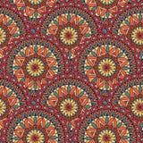 Mandala seamless pattern Geometric flower circular ornament Stock Photo