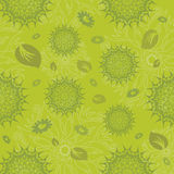 Mandala Seamless Pattern in Green. Mandala Seamless Pattern. Illustration with Leaves and Flowers in Green tones royalty free illustration