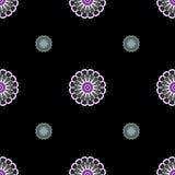 Mandala Seamless Pattern rosa, blu e bianca su un Backgro nero illustrazione vettoriale