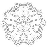Mandala semplice di coloritura del cuore illustrazione di stock