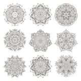 Mandala set. Abstract decorative background. Islam, Arabic, oriental, indian, ottoman, yoga motifs. Vector ornament collection for coloring pages Stock Image