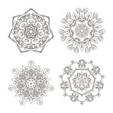 Mandala set. Abstract decorative background. Islam, Arabic, oriental, indian, ottoman, yoga motifs. Vector ornament collection for coloring pages Stock Images