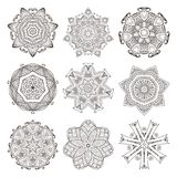 Mandala set. Abstract decorative background. Islam, Arabic, oriental, indian, ottoman, yoga motifs. Vector ornament collection for coloring pages Stock Photography