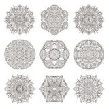Mandala set. Abstract decorative background. Islam, Arabic, oriental, indian, ottoman, yoga motifs. Vector ornament collection for coloring pages Royalty Free Stock Image