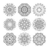 Mandala set. Abstract decorative background. Islam, Arabic, oriental, indian, ottoman, yoga motifs. Vector ornament collection for coloring pages Royalty Free Stock Images