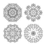 Mandala set. Abstract decorative background. Islam, Arabic, oriental, indian, ottoman, yoga motifs. Vector ornament collection for coloring pages Stock Photos