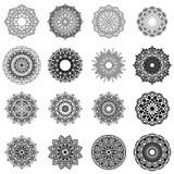 16 Mandala Set. Circular pattern in form of mandala. Circular pattern in form of mandala for coloring or etc stock illustration