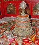 Mandala Set de plata tibetana, monasterio de Gyuto, Dharamshala Imagenes de archivo