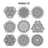 Mandala Set dei modelli ornamentali etnici Ornamenti della circolare di manala del pizzo Indiano tradizionale, islamico, asiatico illustrazione di stock