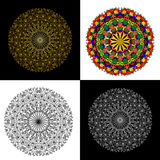 Mandala set.  Round ethnic ornament on black and white backgroun Royalty Free Stock Images