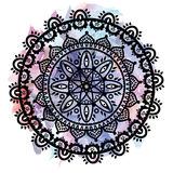 Mandala in the shape of the native culture inspired dreamcatcher made out of swirly elements in black on watercolor Stock Images