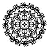 Mandala in the shape of the native culture inspired dreamcatcher made out of swirly elements in black and white symbolizing zen Royalty Free Stock Photo