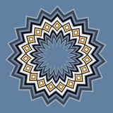 Mandala shape, textile design. Mandala shape in blue and beige colors on light blue background. Abstract background Royalty Free Stock Photos