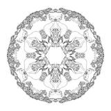 Mandala shaped contoured birds, flowers, leaves and floral decorative elements. Stock Photography