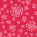 Mandala Shapes Geometric Seamless Pattern cor-de-rosa Repetindo a textura do fundo na cor cor-de-rosa Ilustração à moda do vetor Fotos de Stock Royalty Free
