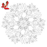 Mandala with shoes and cosmetics. Royalty Free Stock Photo
