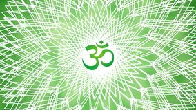 Mandala with the sign of Aum / Om / Ohm. In green colors. Meditative pattern rotation. Video. stock video
